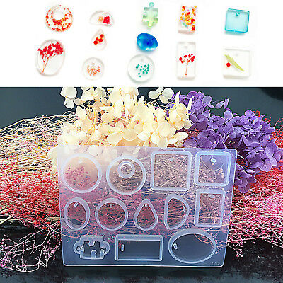 12 DIY Silicone Mold Resin Jewelry Pendant Necklace Mould Multi-Shape Block