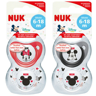NUK Disney Soothers - Choose from Mickey or Minnie Mouse, Baby Soother for 6-18