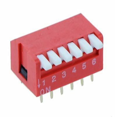 6-Way Piano DIP DIL Red PCB Switch