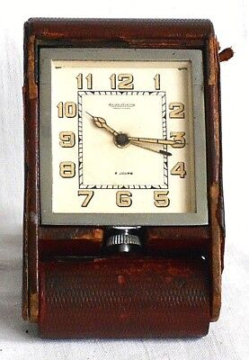 Jaeger-Lecoultre Travelling Alarm Clock In Red Leather Case Serial Number 025444