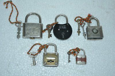 5 Pc Old Iron Handcrafted Different Shape German Padlock, Germany