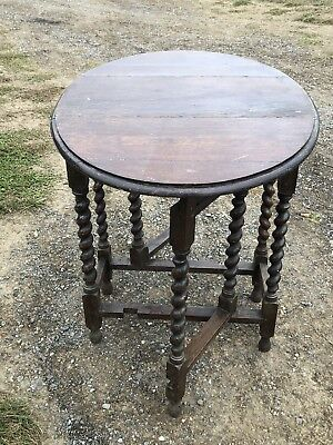 Antique vintage drop leaf oak gateleg barley twist  dining table