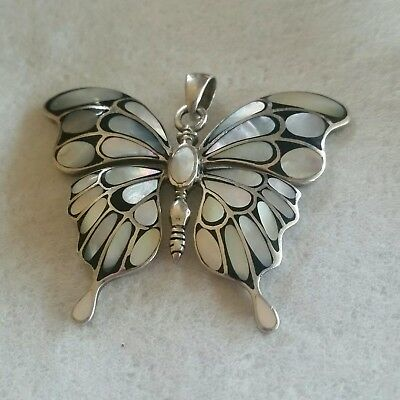 BUTTERFLY NECKLACE PENDANT WITH MOTHER OF PEARL STERLING SILVER 2 × 2.5 inches