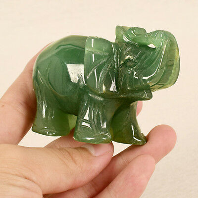 Natural Quartz Carved Elephant Gemstone Stone Figurine Ornaments Green Z