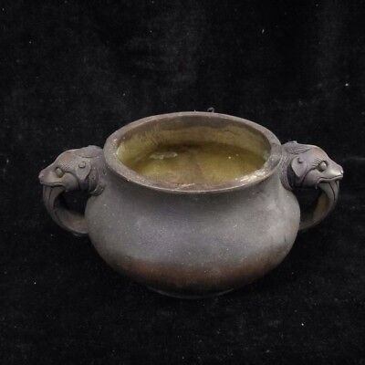 """4"""" China Antique Brass Double Beast ears incense burner"""