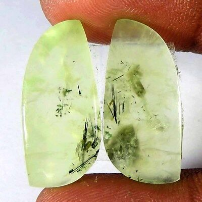 26.00Ct Natural Prehnite Fancy Pair Cabochon Loose Gemstone Free Shipping