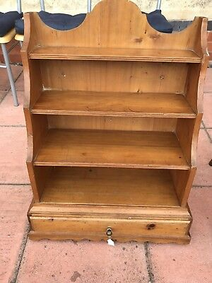Antique Pine Wall Hanging Shelf Unit With Drawer