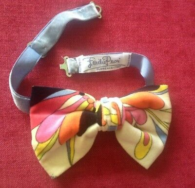 vintage Emilio Pucci velvet cotton bow tie with band, made in Florence