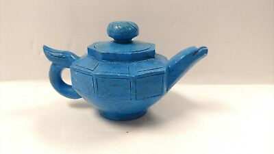 Chinese Teapot Handmade Carved Turquoise Stone Pot Teapot Flagon
