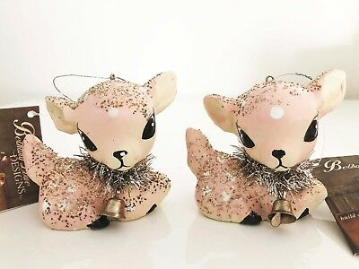 Two Pink Bethany Lowe Fawn Christmas Collection Ornaments Deer Pastel Tree decor