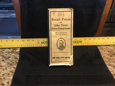 Rare Vintage 1935 John Deere Plow Co - Kansas City,Mo - Retail Price List Manual