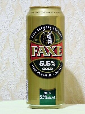 SALE! New Empty Can Of Danish Beer FAXE GOLD, 500 ml., 2018. Bottom Open!