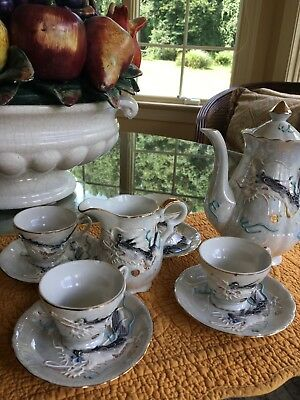 Japanese Tea Set With 4 Cups Tea Pot And Creamer Signed Dragon Painted On Each