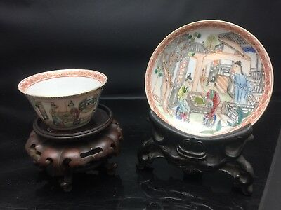 Rare Chinese Families Rose Cup And Sauce QianLong Period 18th Century