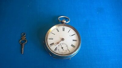 935 Silver Pocket Watch Used, with key, inscribed, working order