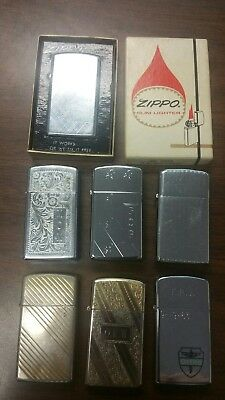 Zippo Slim lot of 7 vintage 60's and 70's lighters