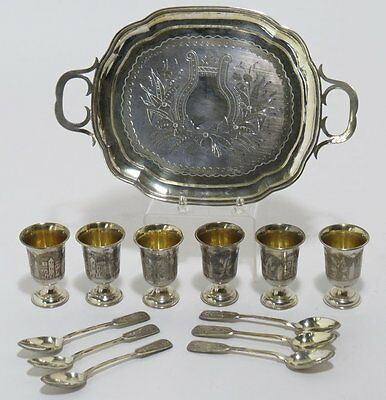 ANTIQUE RUSSIAN SILVER 84 TRAY, 6 SHOT GLASSES AND 6 DEMITASSE SPOONS, c 1895