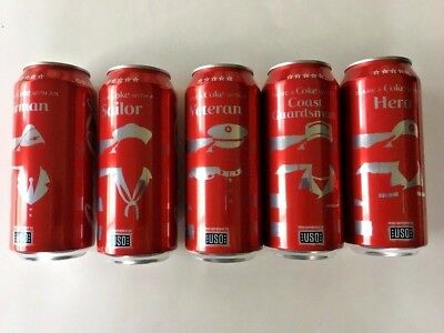 Coke Limited Edition USO hero's collection Full 16oz Coca Cola Can July 4, USA