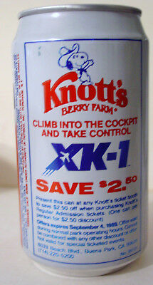1989 12 oz.  PEPSI CAN ( KNOTT'S BERRY FARM XK-1 ) BOTTOM OPENED
