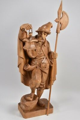 Antique Vintage Hand Carved Wooden Carving Night Watchman Guard + Lantern Statue