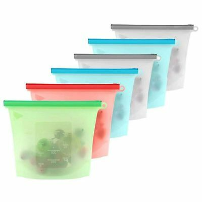 6 pcs Silicone Food Storage Bags,Reusable Leakproof Preservation Container B7B7