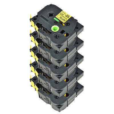 5PK For Brother PT-E300 PT-E550W HSe-641 Heat Shrink Tube Black on Yellow 17.7mm