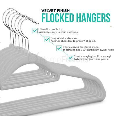 50 Grey Non Slip Flocked Velvet Hanger Coat Clothes Trouser Hanging Hangers Bar