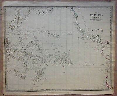 PACIFIC OCEAN 1840 BY WALKER LARGE COPPER ENGRAVED MAP XIXe CENTURY