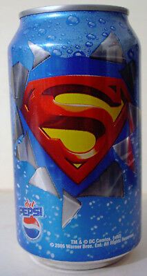 2006 12 oz. DIET PEPSI CAN ( SUPERMAN ) BOTTOM OPENED
