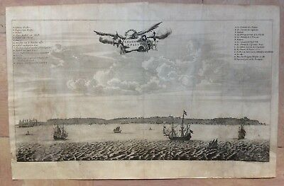 LUANDA ANGOLA 1676 Olfert DAPPER LARGE ANTIQUE COPPER ENGRAVED VIEW 17e CENTURY