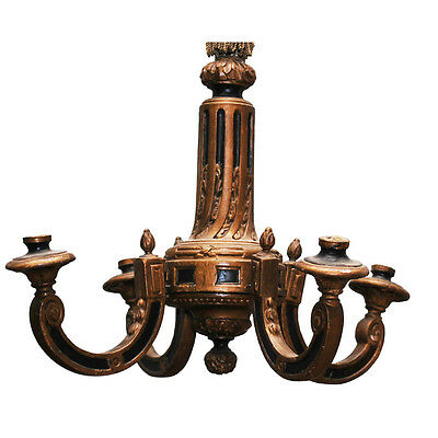 19th-century Italian hand-carved and gilt-wood four-arm chandelier