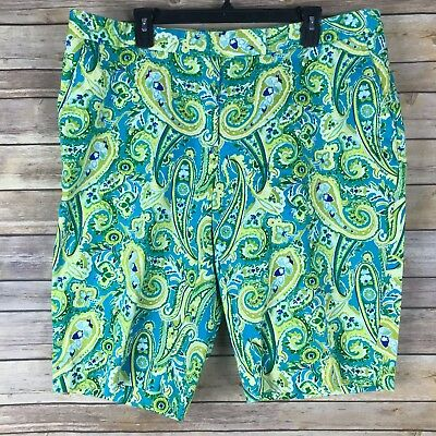 Jones New York Womens Shorts Cotton Stretch Bermuda Walking Paisley Size 18W