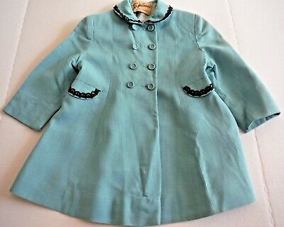 Vintage 50s Girl's 3T Linen Dress Coat Turquoise with Brown Trim Extra Buttons