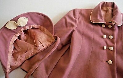 Vintage 50s Toddler Girls Wool Dress Coat and Hat Leather Trimmed Dusty Pink