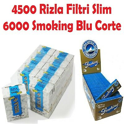 4500 FILTRI RIZLA SLIM 6mm + 6000 CARTINE SMOKING BLU CORTE + accendino