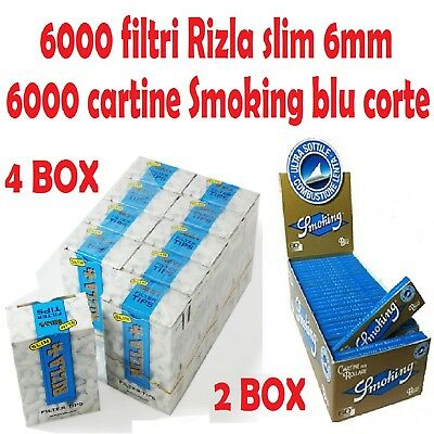 6000 FILTRI RIZLA SLIM 6mm + 6000 CARTINE SMOKING BLU CORTE + accendino