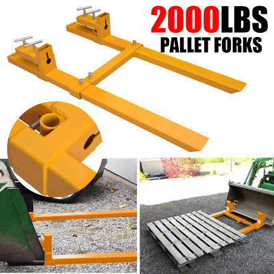 Clamp on Pallet Forks w/ Stabilizer Bar 2000lb Loader Tractor Heavy duty HOT 43""