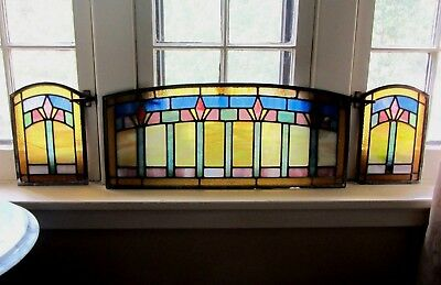 Antique Stained Leaded Glass 3 Panel Window Transom Architectural Salvage