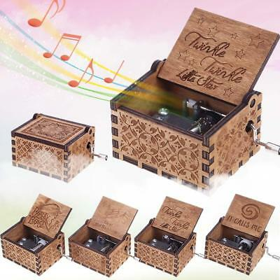 Eiffel Tower Retro Engraved Wooden Music Box Party Birthday Decor Crafts Gift
