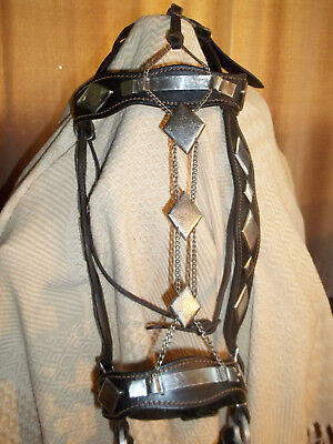 Ted Flowers Parade Bridle~Diamond Conchos~ With Face Chain~Crockett Bit