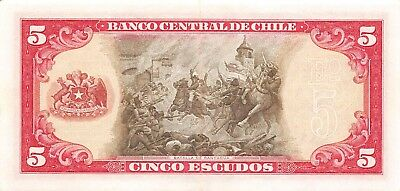 Chile  5  Escudos   ND. 1964  P 138  Series  D 1  Circulated Banknote BW