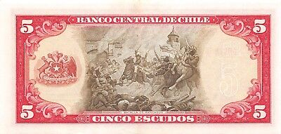 Chile  5  Escudos   ND. 1964  P 138  Series  D 22  Circulated Banknote BW