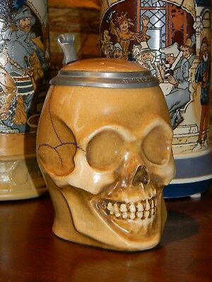 Skull Character Stein by Marzi & Remy, 1/2 L (Mettlach Era)
