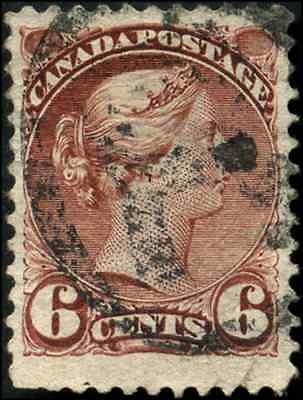Canada #43 used F-VF 1888 Queen Victoria 6c red brown Small Queen CV$11.50
