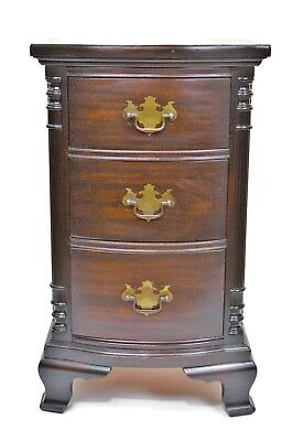 Solid Mahogany Night Stand Federal Style with Three Drawers Circa 1930s to 1940s