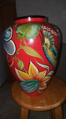 Large Vintage 1950's Painted Mexican Hand-Thrown Pottery Jar/Vase - FOLK ART