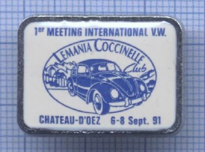 Rare PIN'S Cox Lémania Coccinelle Club 1991 Volkswagen voiture automobile VW