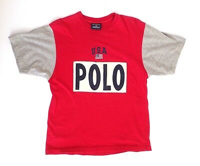 Vintage Retro POLO Sport Ralph Lauren Embroidered USA T Shirts Red Gray size M