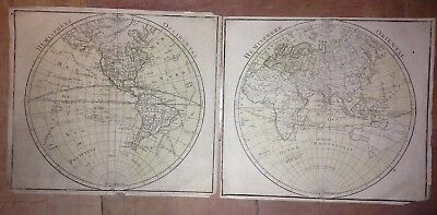 WESTERN & EASTERN HEMISPHERES 2 MAPS 18e CENTURY ANTIQUE COPPER ENGRAVED PLATES