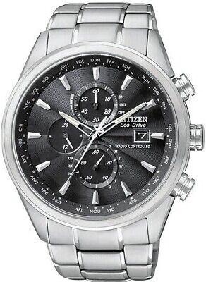 Citizen Men's Eco-Drive A-T Black Dial Stainless Steel World Watch AT8010-58E